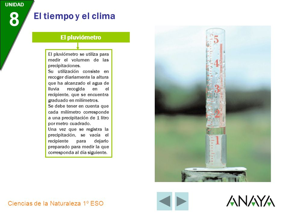 El pluviómetro El pluviómetro se utiliza para medir el volumen de las precipitaciones.