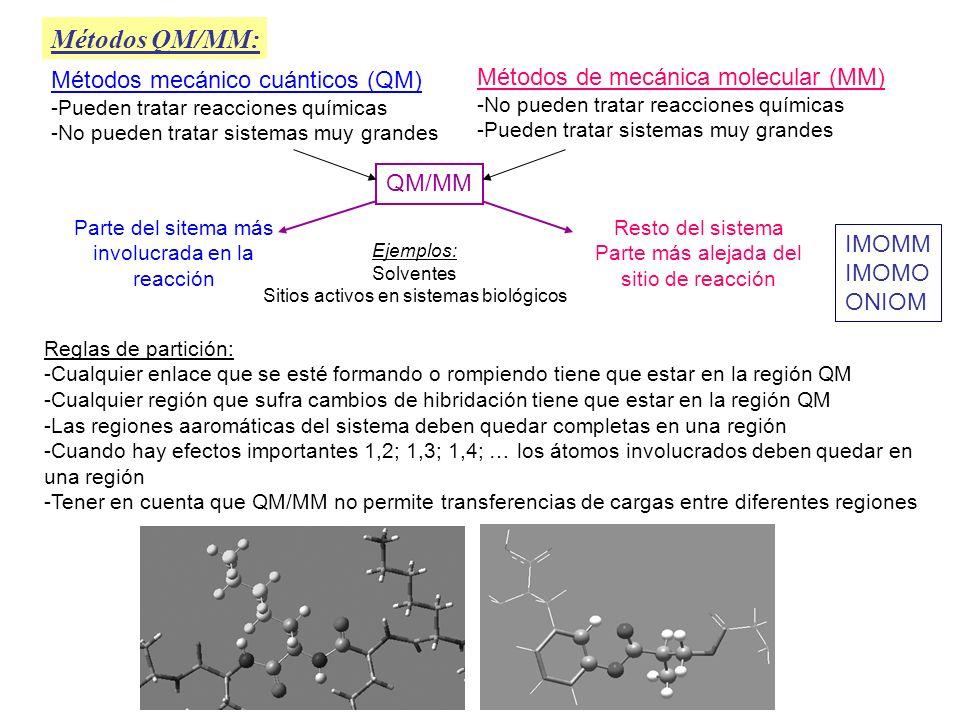 Métodos QM/MM: Métodos mecánico cuánticos (QM)