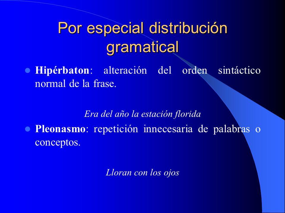 Por especial distribución gramatical