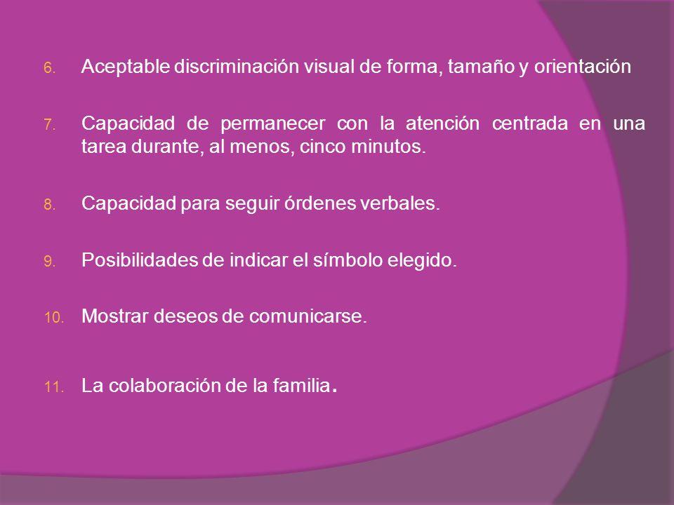 Aceptable discriminación visual de forma, tamaño y orientación