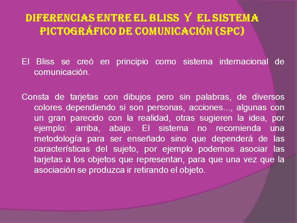 Diferencias entre el Bliss y el Sistema Pictográfico de Comunicación (SPC)