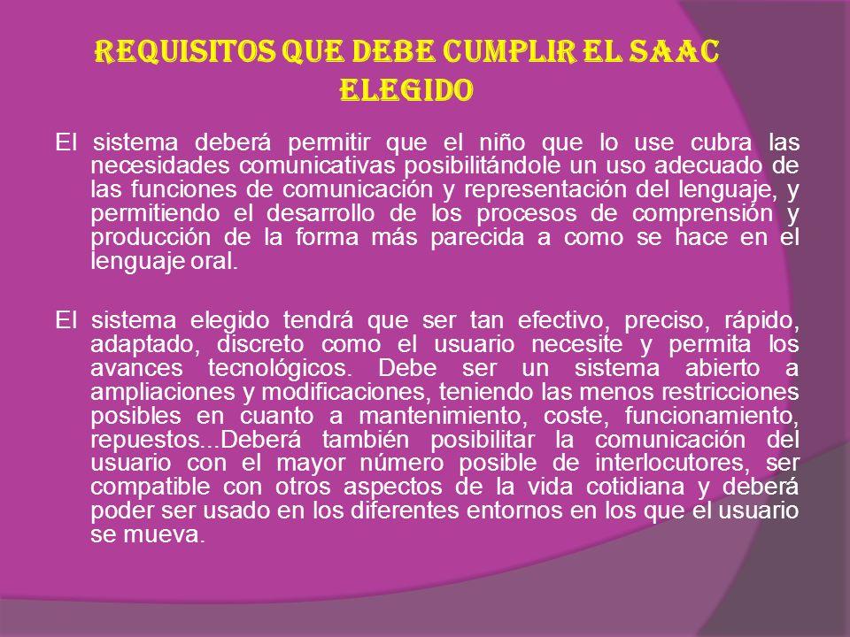 Requisitos que debe cumplir el SAAC elegido