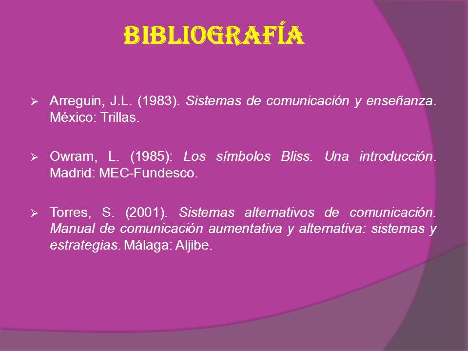 Bibliografía Arreguin, J.L. (1983). Sistemas de comunicación y enseñanza. México: Trillas.