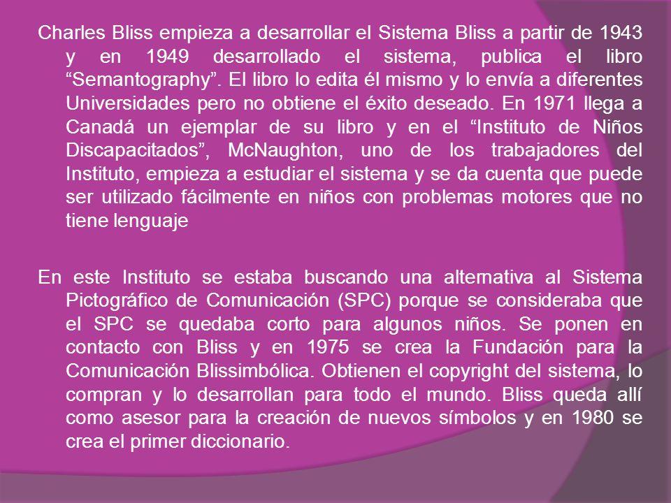 Charles Bliss empieza a desarrollar el Sistema Bliss a partir de 1943 y en 1949 desarrollado el sistema, publica el libro Semantography .
