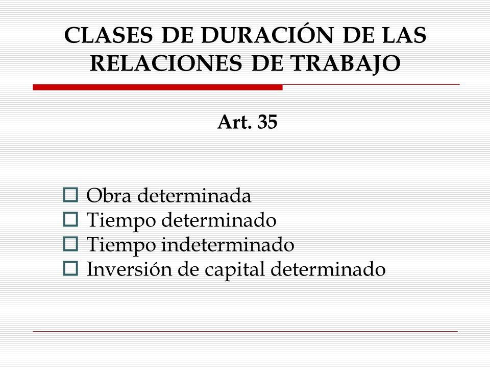 CLASES DE DURACIÓN DE LAS RELACIONES DE TRABAJO