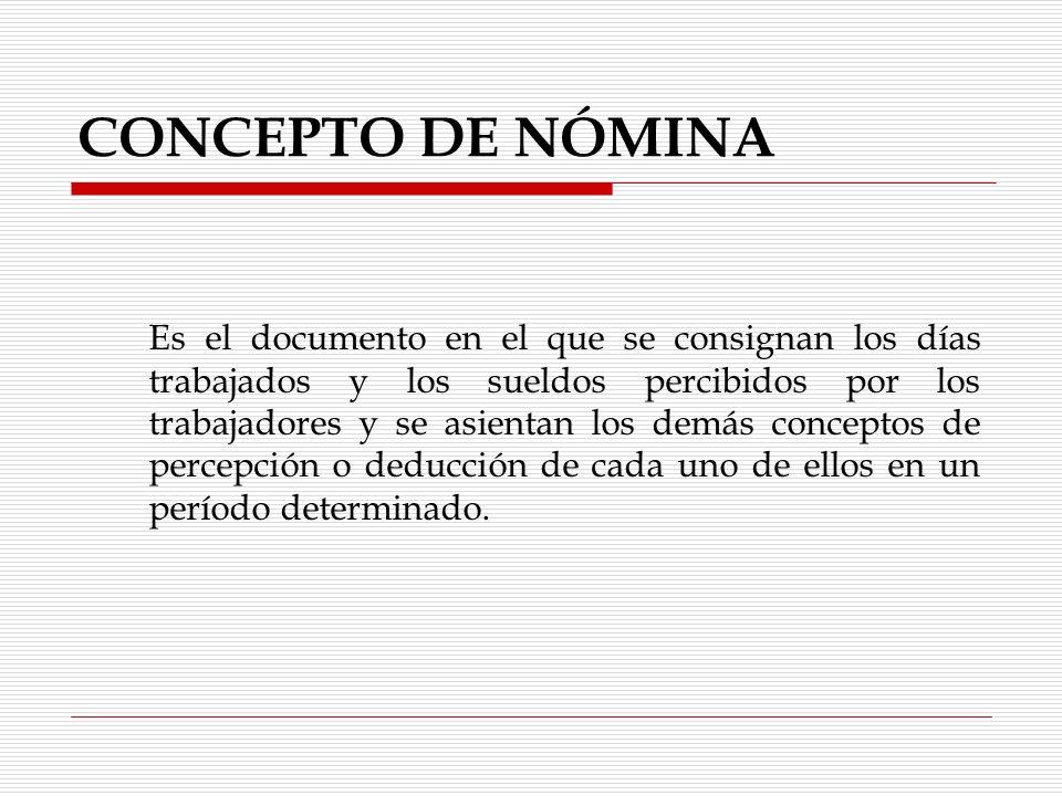 CONCEPTO DE NÓMINA