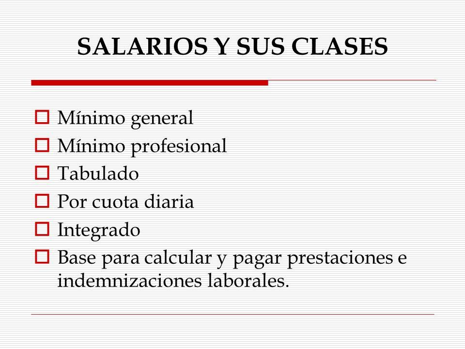 SALARIOS Y SUS CLASES Mínimo general Mínimo profesional Tabulado