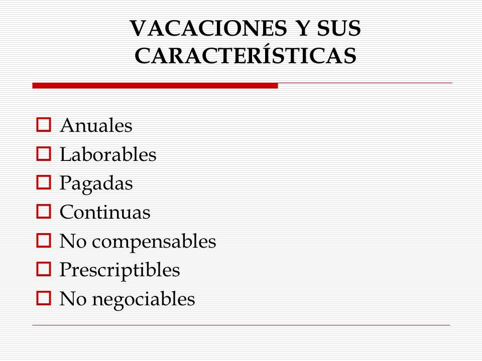 VACACIONES Y SUS CARACTERÍSTICAS