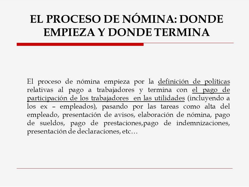EL PROCESO DE NÓMINA: DONDE EMPIEZA Y DONDE TERMINA