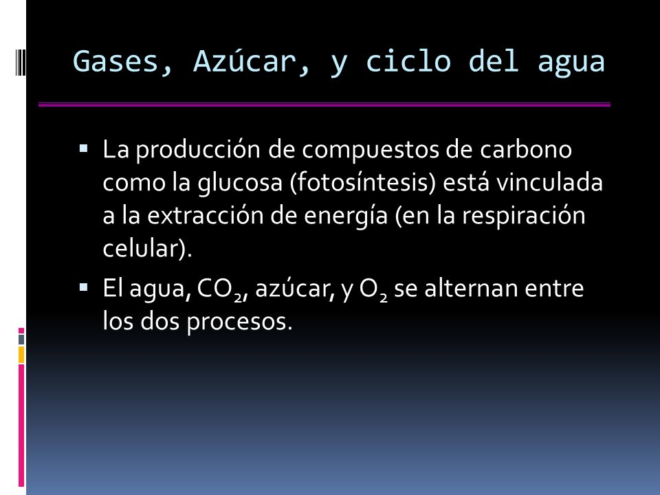 Gases, Azúcar, y ciclo del agua
