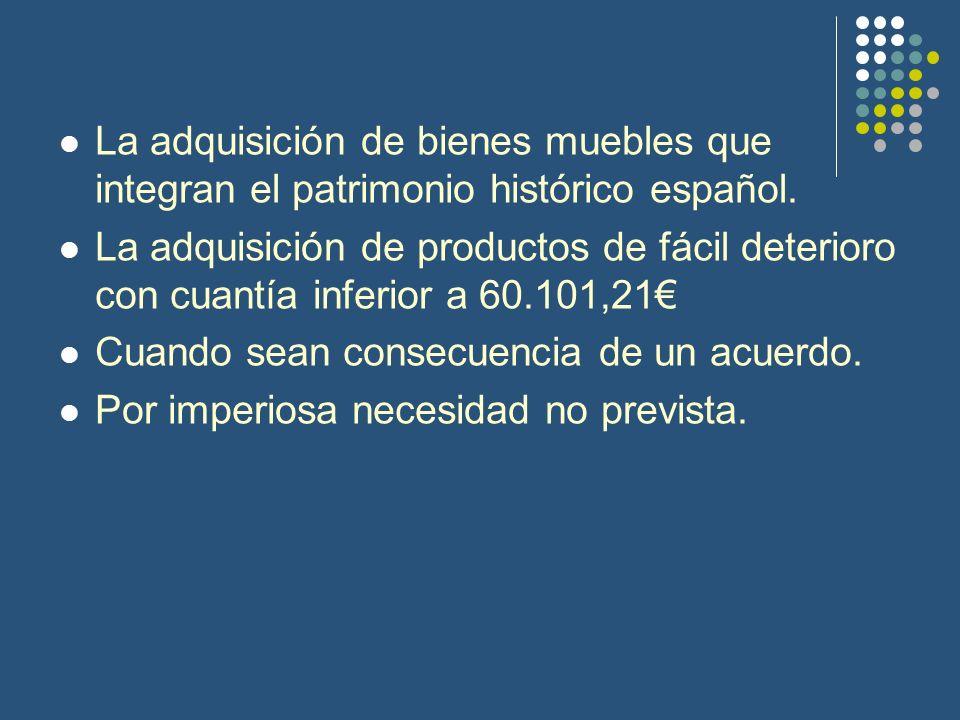 La adquisición de bienes muebles que integran el patrimonio histórico español.