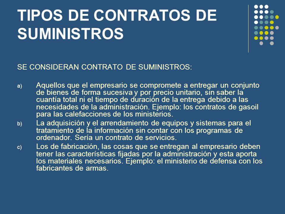 TIPOS DE CONTRATOS DE SUMINISTROS