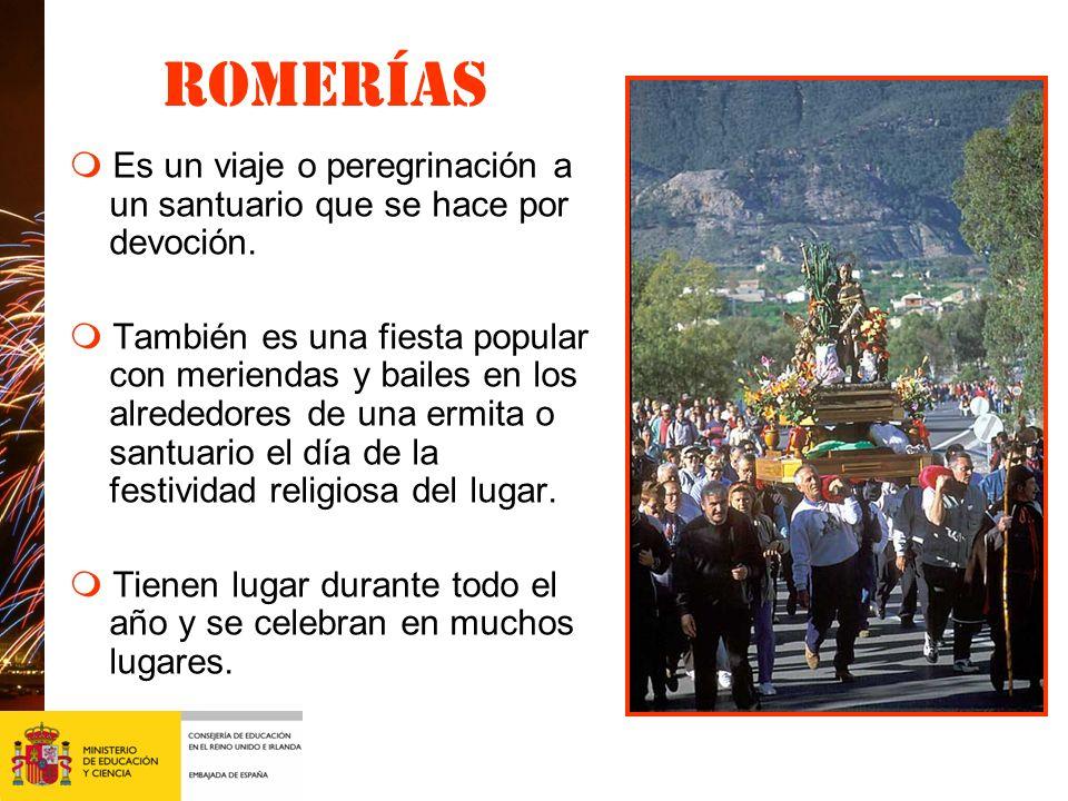 Romerías m Es un viaje o peregrinación a un santuario que se hace por devoción.