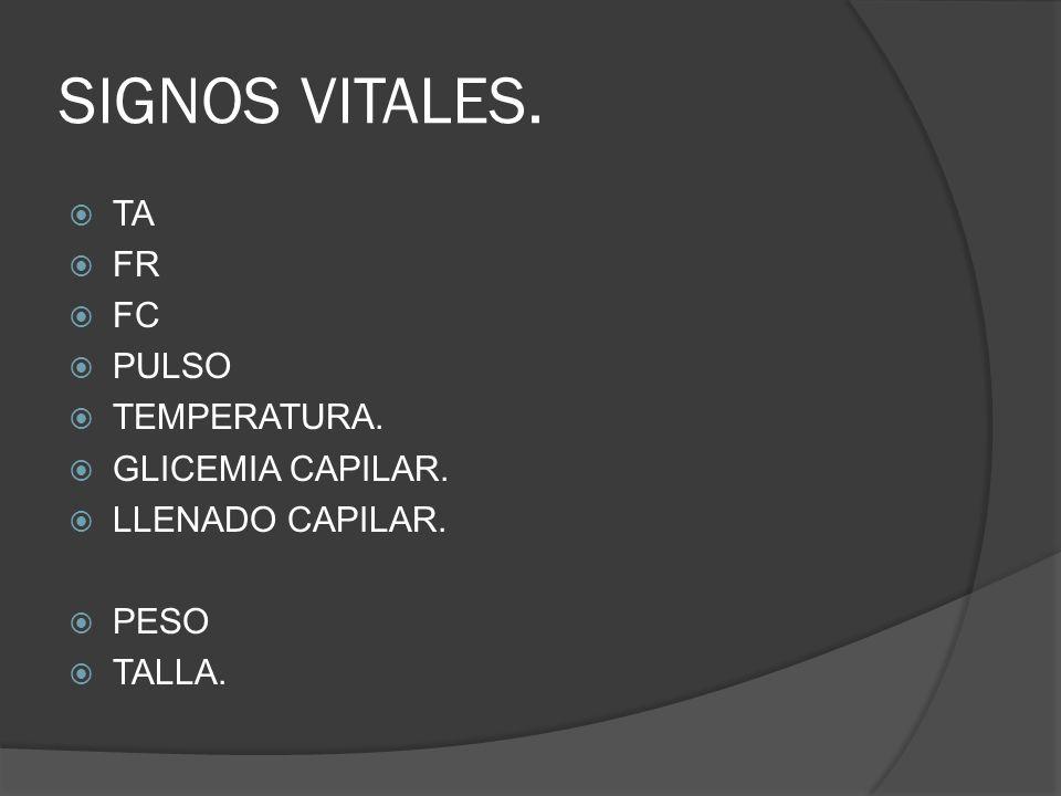 SIGNOS VITALES. TA FR FC PULSO TEMPERATURA. GLICEMIA CAPILAR.