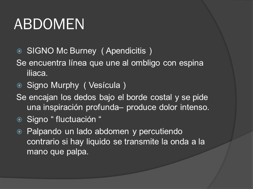 ABDOMEN SIGNO Mc Burney ( Apendicitis )