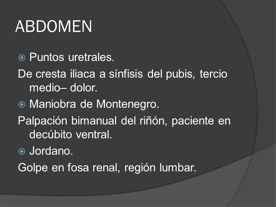 ABDOMEN Puntos uretrales.