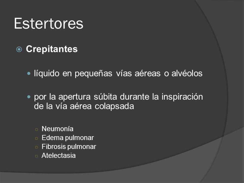Estertores Crepitantes líquido en pequeñas vías aéreas o alvéolos