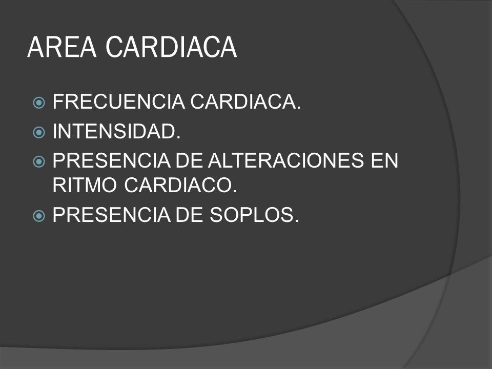 AREA CARDIACA FRECUENCIA CARDIACA. INTENSIDAD.