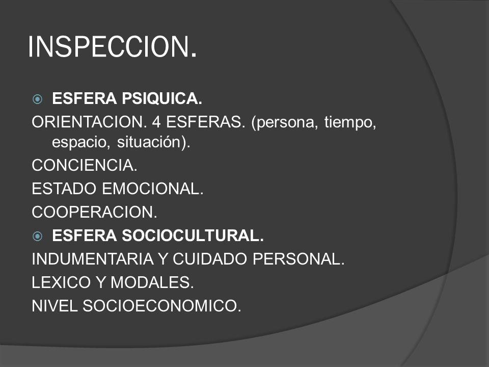 INSPECCION. ESFERA PSIQUICA.