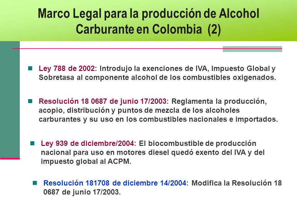 Marco Legal para la producción de Alcohol Carburante en Colombia (2)