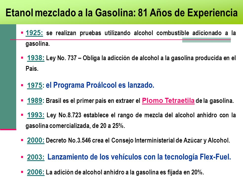 Etanol mezclado a la Gasolina: 81 Años de Experiencia