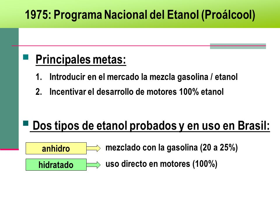 1975: Programa Nacional del Etanol (Proálcool)