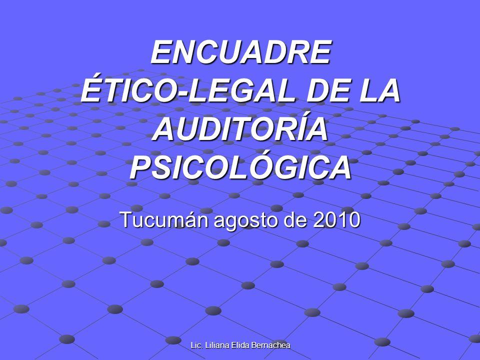 ENCUADRE ÉTICO-LEGAL DE LA AUDITORÍA PSICOLÓGICA