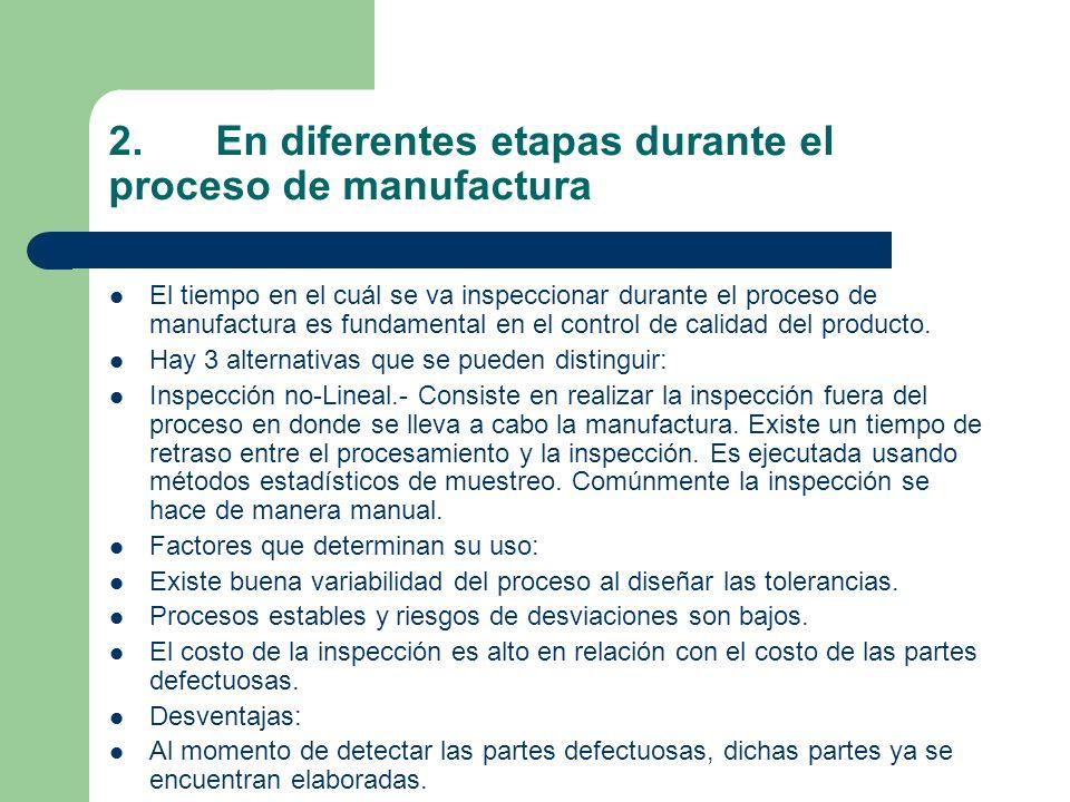 2. En diferentes etapas durante el proceso de manufactura
