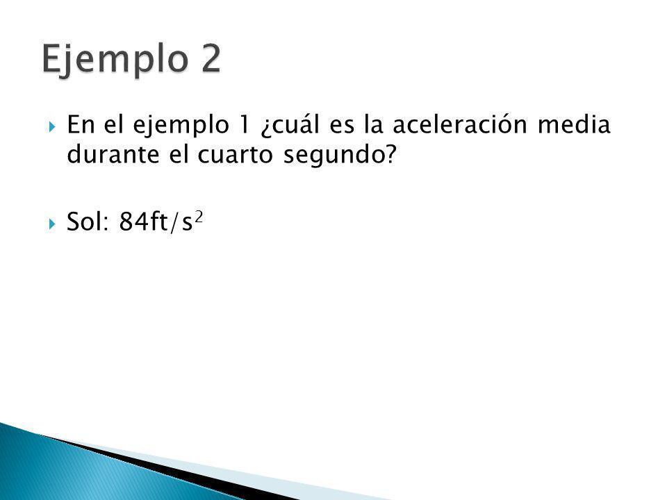 Ejemplo 2 En el ejemplo 1 ¿cuál es la aceleración media durante el cuarto segundo Sol: 84ft/s2