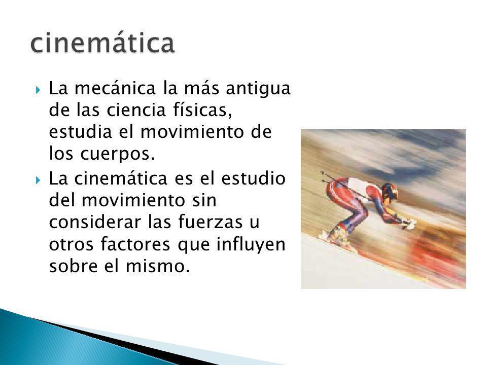 cinemática La mecánica la más antigua de las ciencia físicas, estudia el movimiento de los cuerpos.