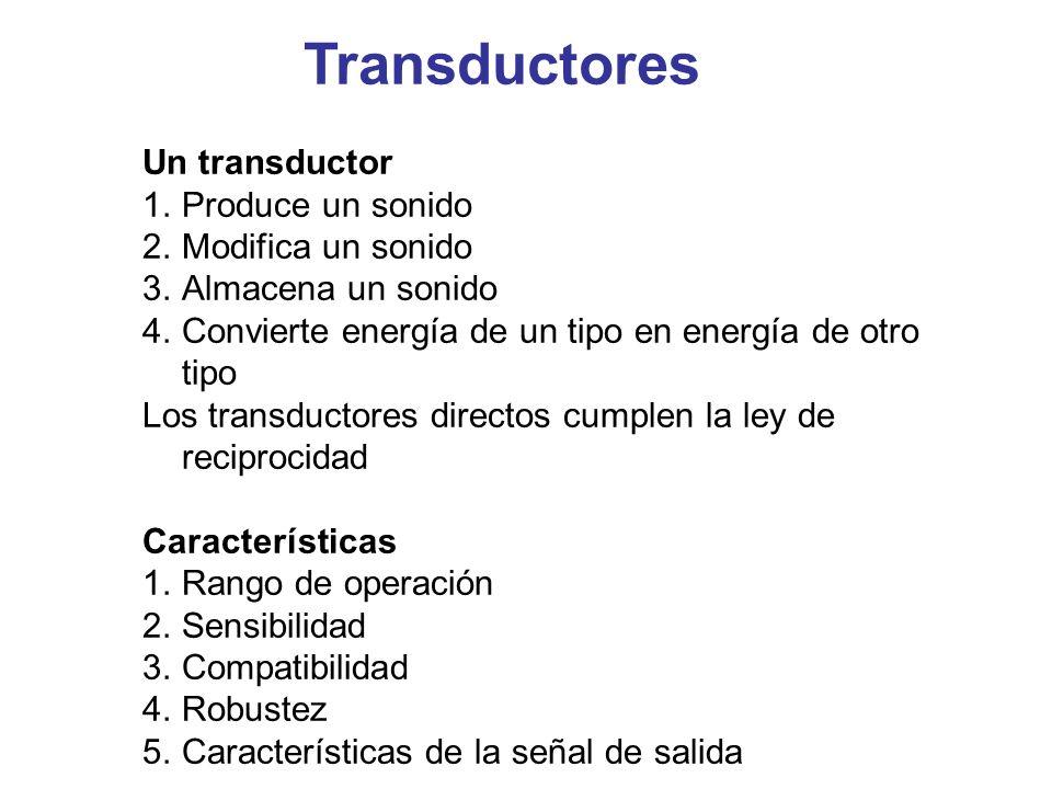 Transductores Un transductor Produce un sonido Modifica un sonido