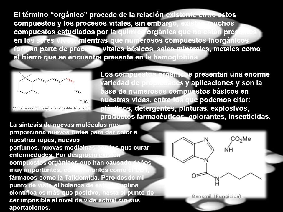 El término orgánico procede de la relación existente entre estos compuestos y los procesos vitales, sin embargo, existen muchos compuestos estudiados por la química orgánica que no están presentes en los seres vivos, mientras que numerosos compuestos inorgánicos forman parte de procesos vitales básicos, sales minerales, metales como el hierro que se encuentra presente en la hemoglobina