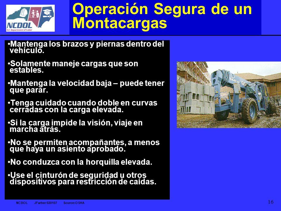 Operación Segura de un Montacargas
