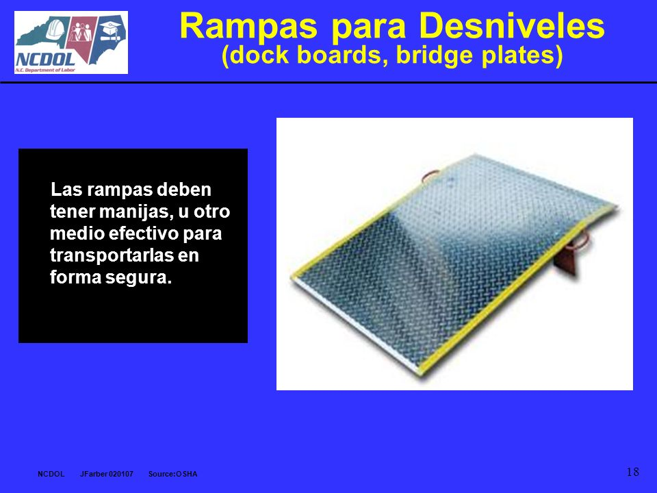 Rampas para Desniveles (dock boards, bridge plates)