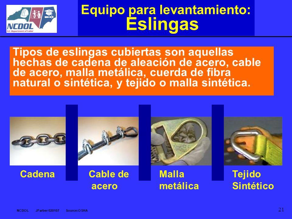 Eslingas Equipo para levantamiento: