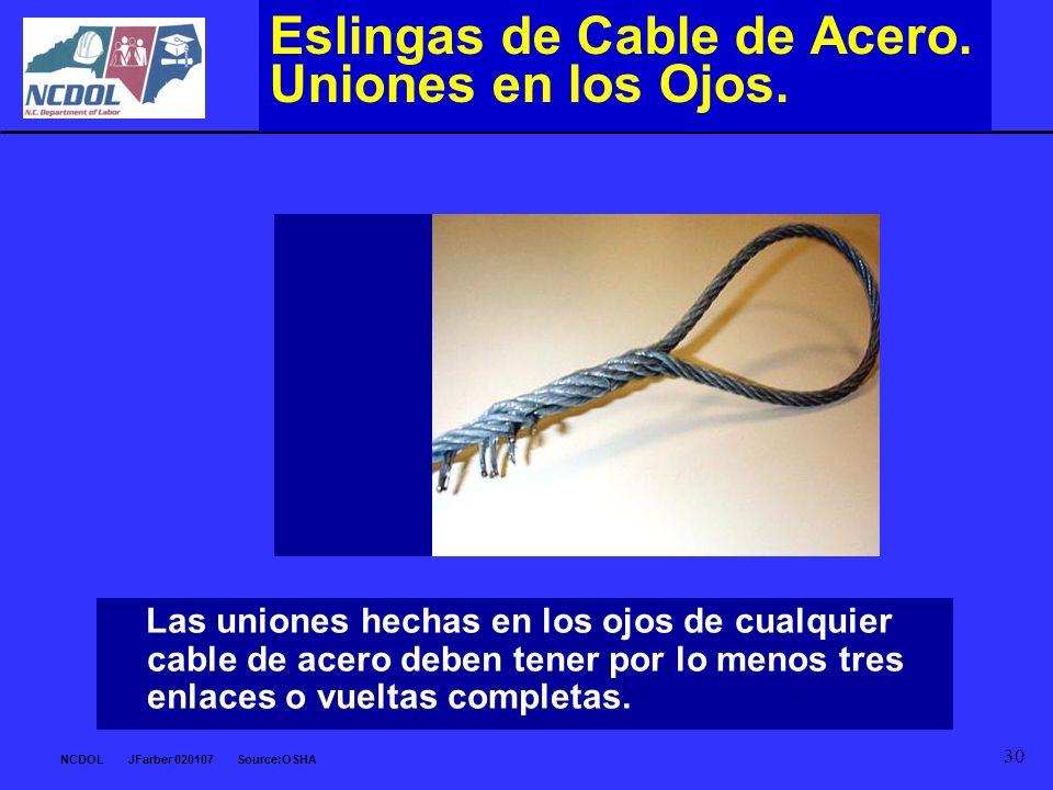 Eslingas de Cable de Acero. Uniones en los Ojos.
