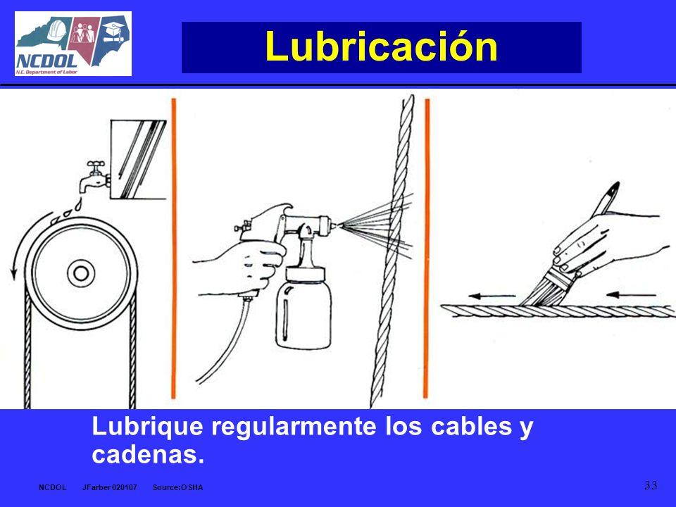 Lubricación Lubrique regularmente los cables y cadenas.
