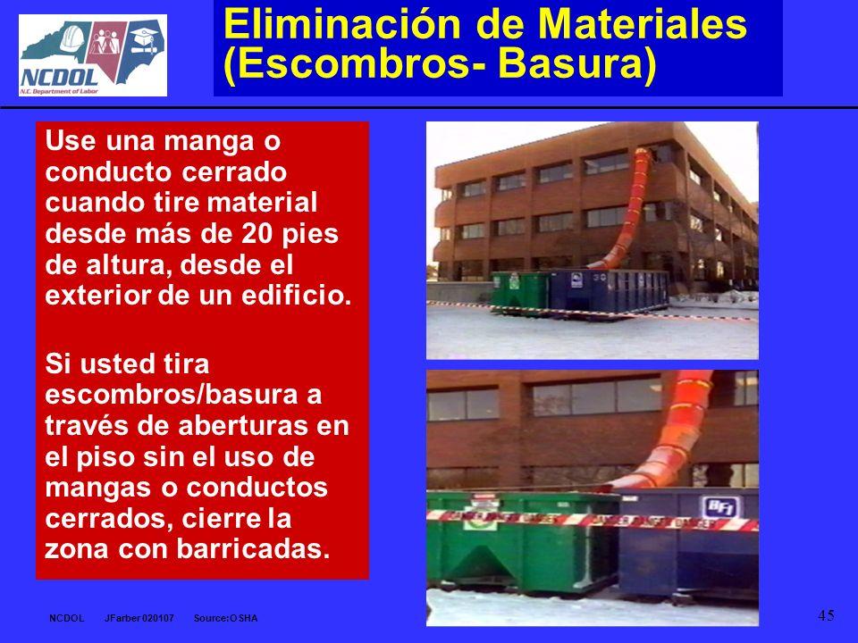Eliminación de Materiales (Escombros- Basura)