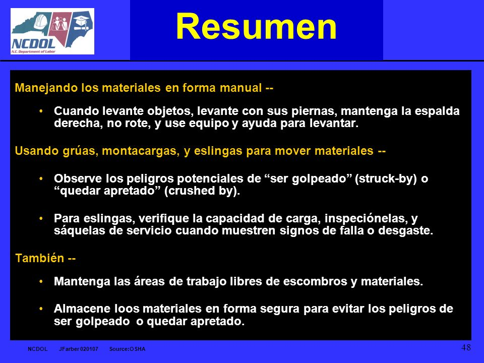 Resumen Manejando los materiales en forma manual --