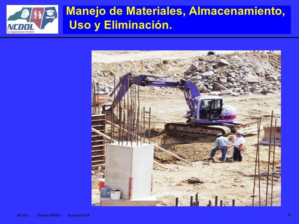 Manejo de Materiales, Almacenamiento, Uso y Eliminación.