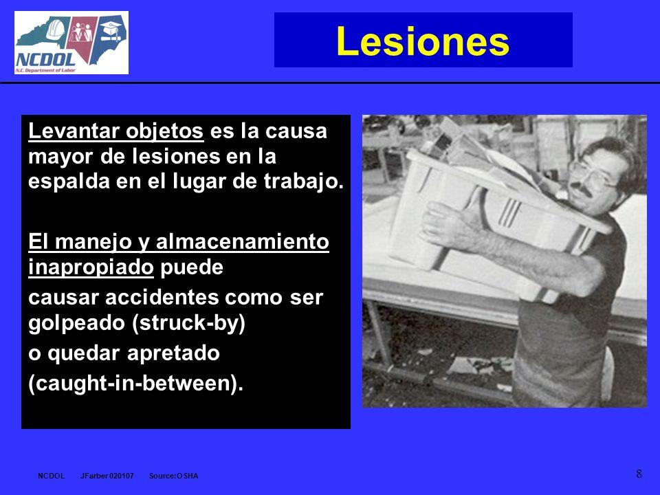 Lesiones Levantar objetos es la causa mayor de lesiones en la espalda en el lugar de trabajo. El manejo y almacenamiento inapropiado puede.