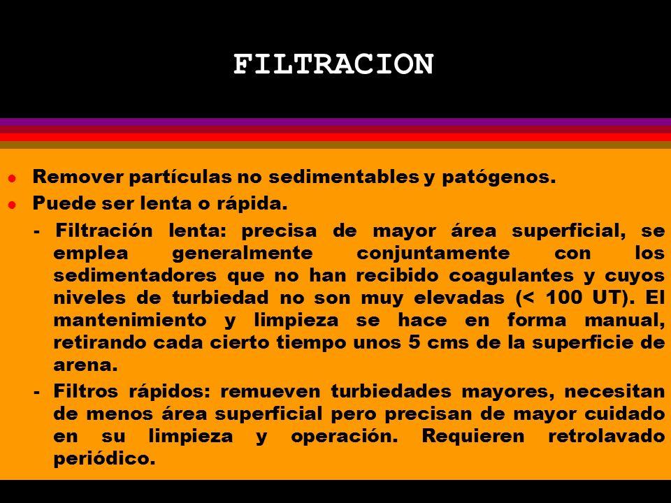 FILTRACION Remover partículas no sedimentables y patógenos.