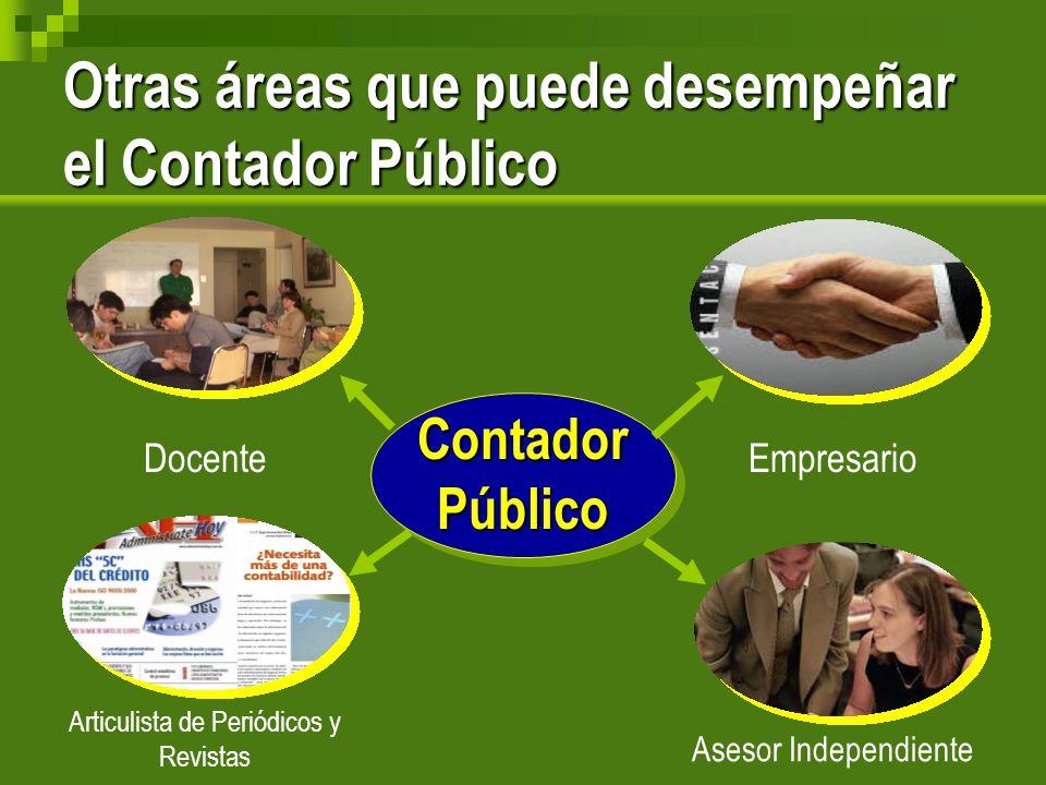 Otras áreas que puede desempeñar el Contador Público