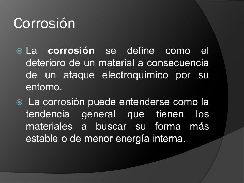Corrosión La corrosión se define como el deterioro de un material a consecuencia de un ataque electroquímico por su entorno.