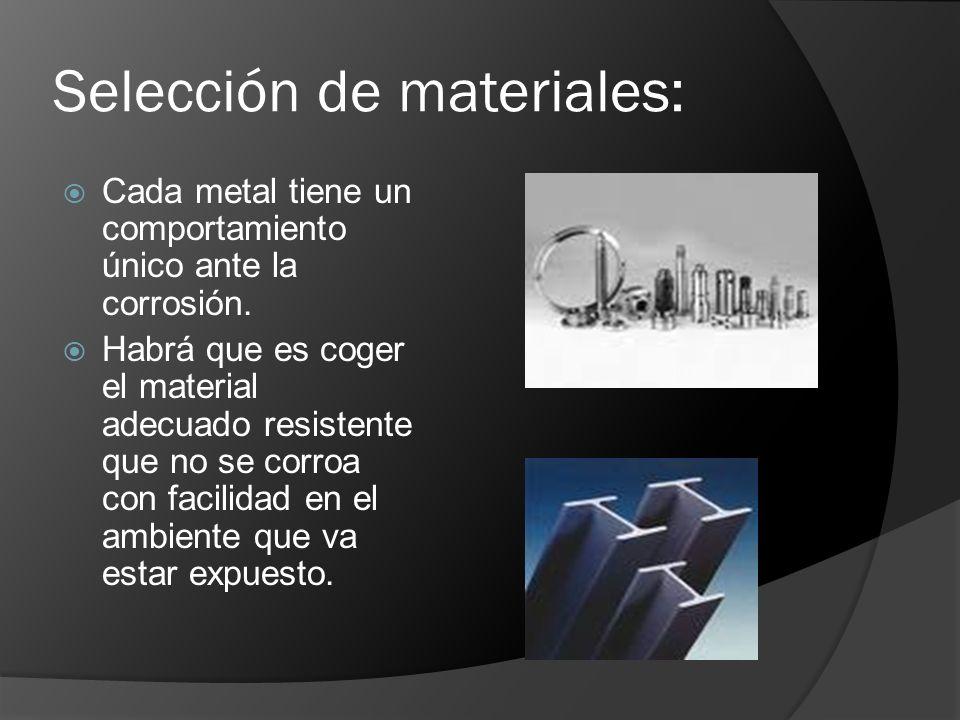 Selección de materiales: