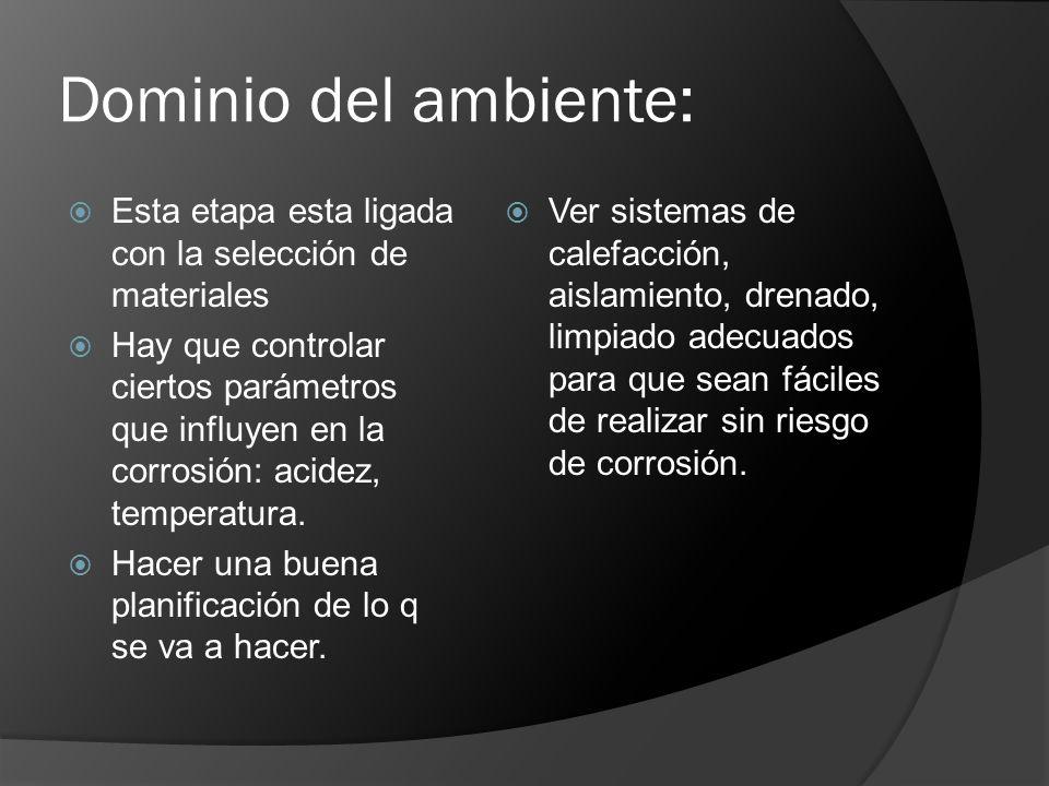 Dominio del ambiente: Esta etapa esta ligada con la selección de materiales.