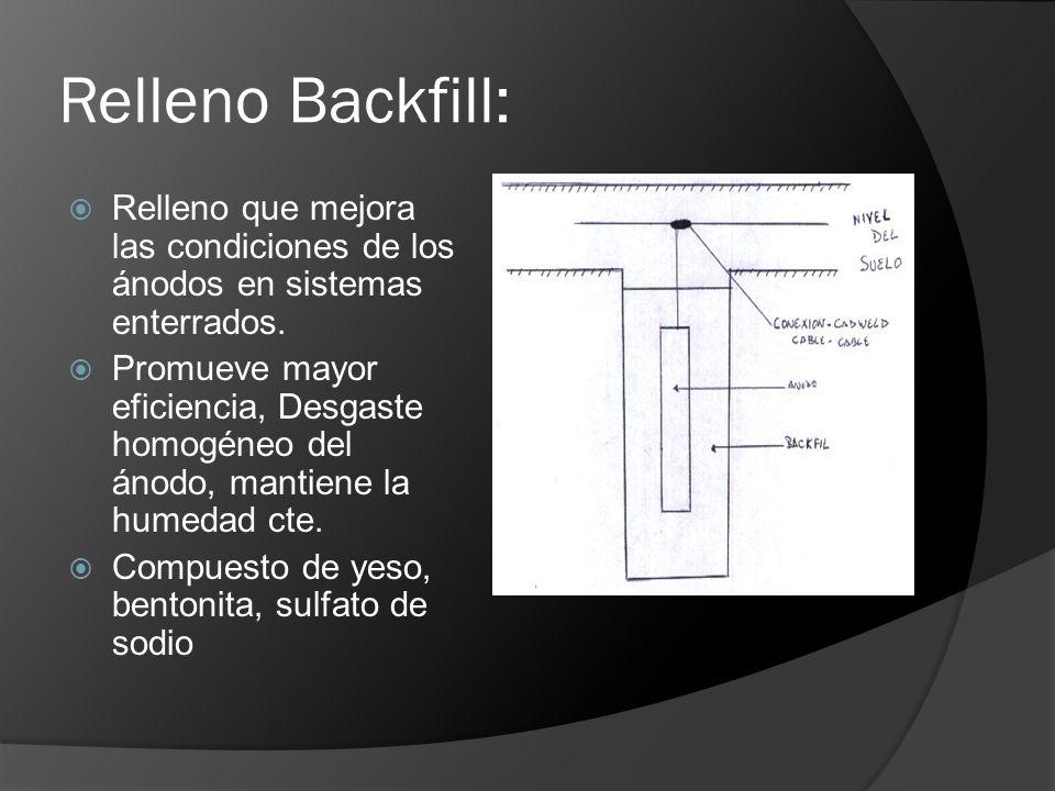 Relleno Backfill: Relleno que mejora las condiciones de los ánodos en sistemas enterrados.