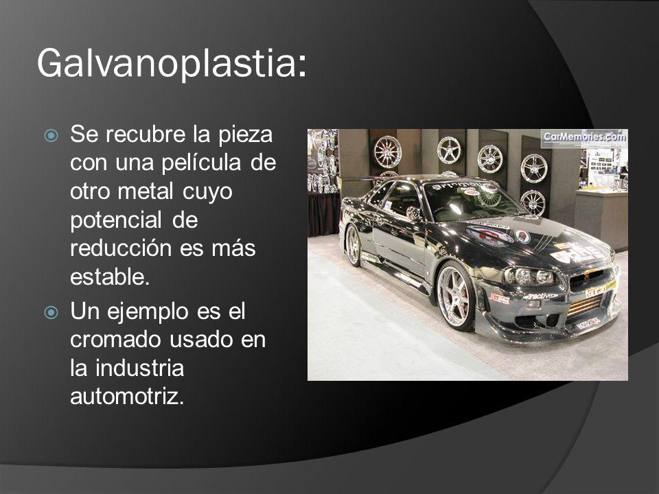 Galvanoplastia: Se recubre la pieza con una película de otro metal cuyo potencial de reducción es más estable.