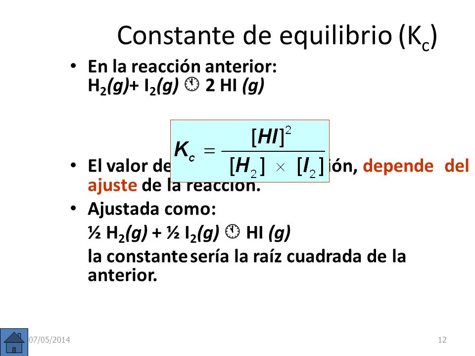 Constante de equilibrio (Kc)