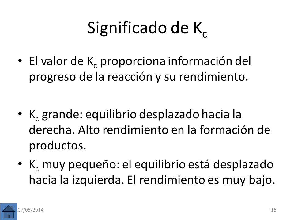 Significado de Kc El valor de Kc proporciona información del progreso de la reacción y su rendimiento.